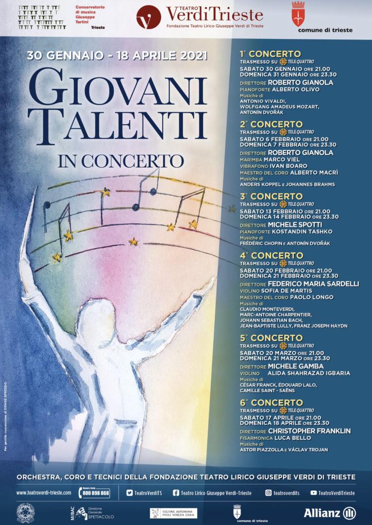 """Trieste: """"Giovani Talenti"""" in concerto. 30 gennaio – 18 aprile 2021"""