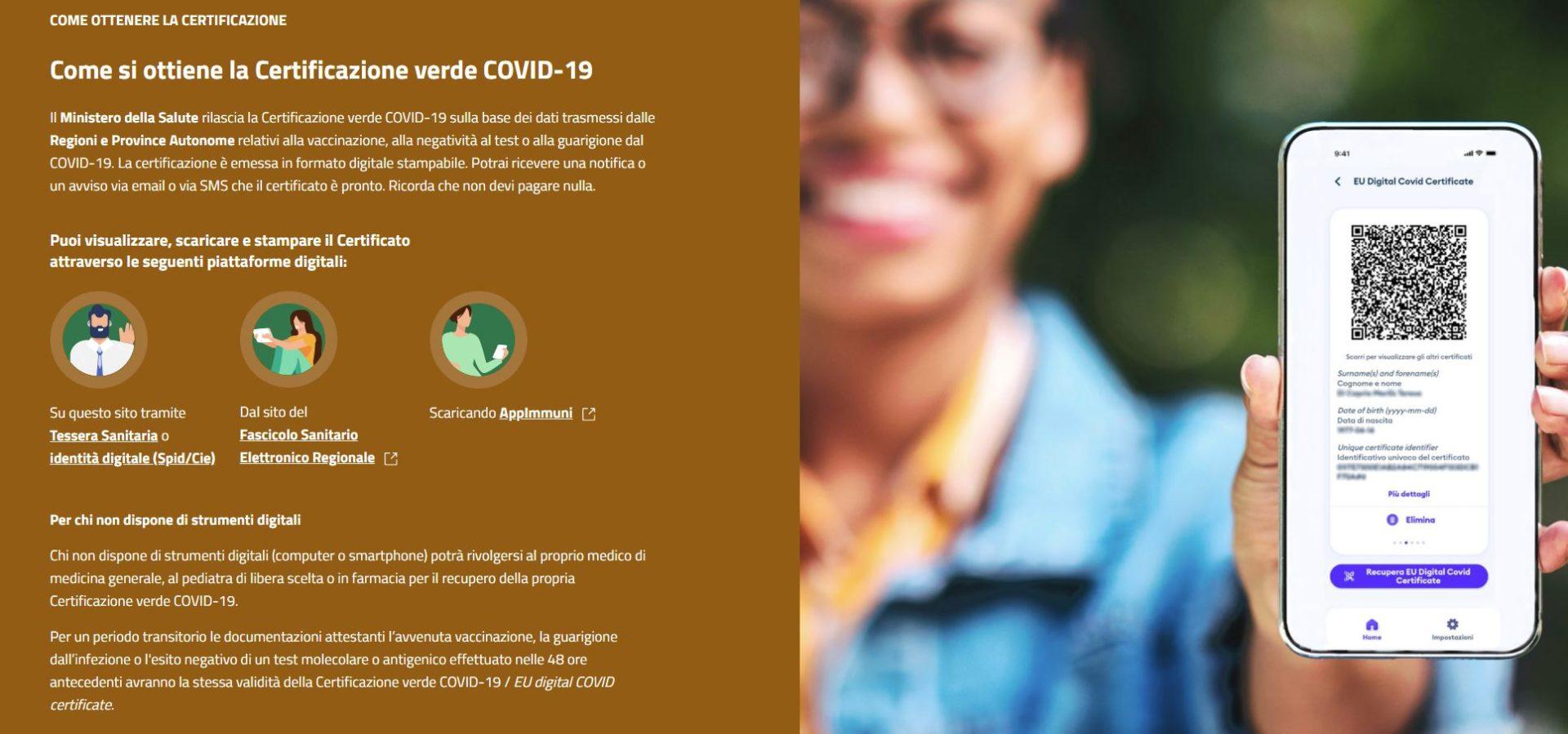 Come si ottiene la Certificazione verde COVID 19