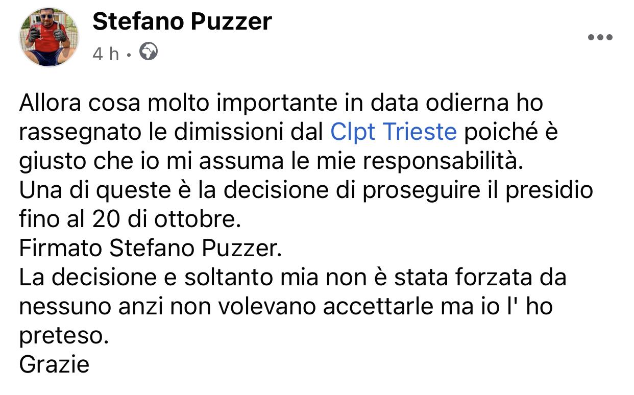 Puzzer si dimette dal CLPT di Trieste
